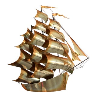 Brass Sailboat Wall Decor For Sale