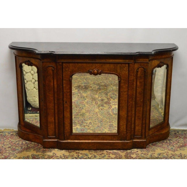 Antique 1800's Burl Walnut Mirrored Sideboard For Sale - Image 11 of 11