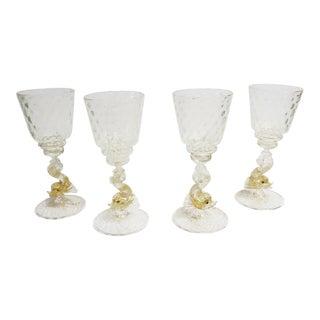 """Salviati Murano Italian Blown """"Pesce"""" Wine Glasses, Set of 4 For Sale"""