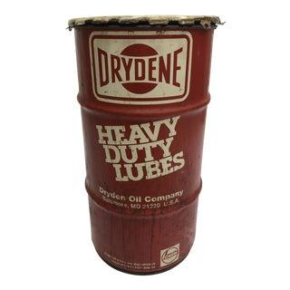 Vintage Industrial Red Metal Grease Barrel - Great Man Cave Advertising For Sale