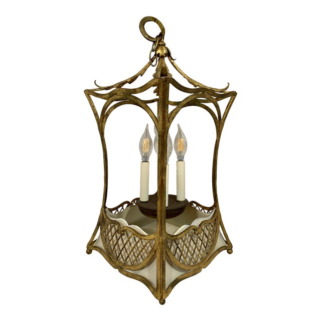 1920s French Style Basket Lantern For Sale