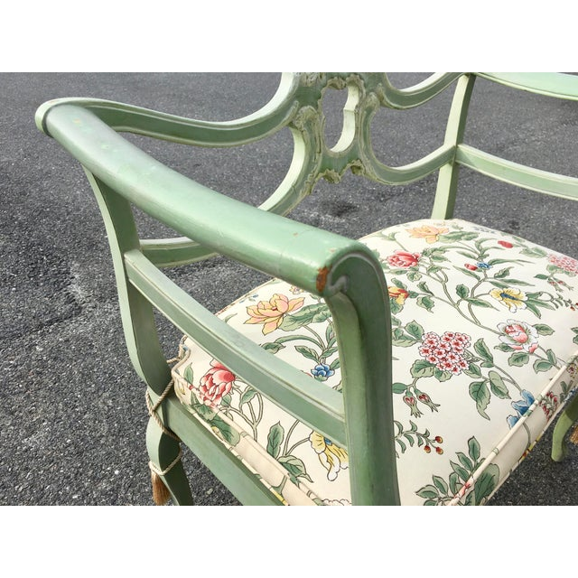 French Provincial **Final Price** Antique Green French Provincial Carved Wood Small Bench Settee For Sale - Image 3 of 11
