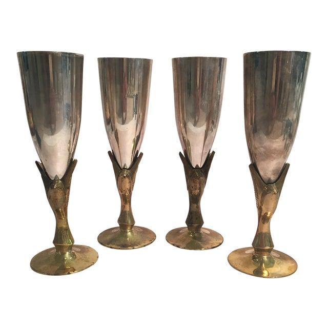 Godinger Silver Plated & Brass Bird Goblets - Set of 4 - Image 1 of 11