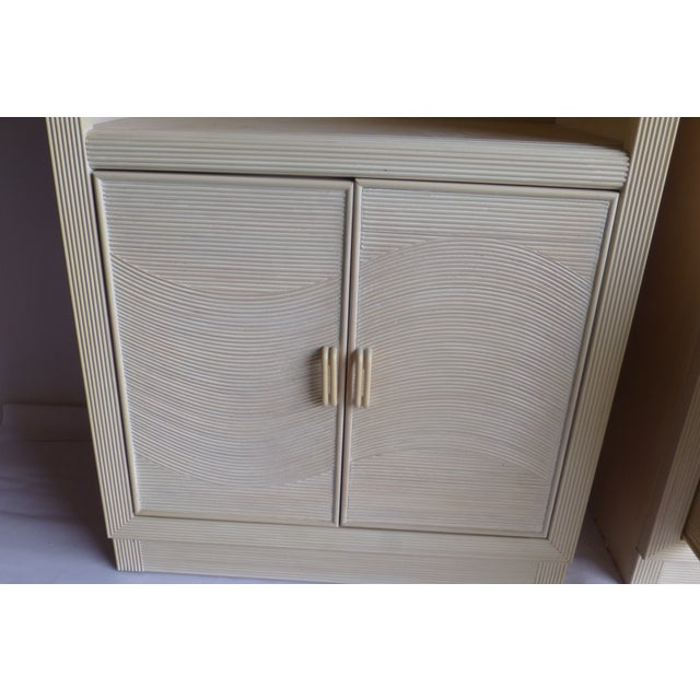 Modern Split Reed Lighted Cabinets - A Pair - Image 8 of 11