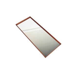 Danish Modern Long Beveled Edge Teak Wall Mirror For Sale