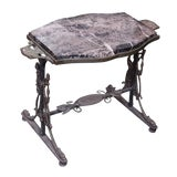 Image of 20th Century Victorian Iron Side Table With Marble Top For Sale