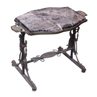 20th Century Victorian Iron Side Table With Marble Top For Sale