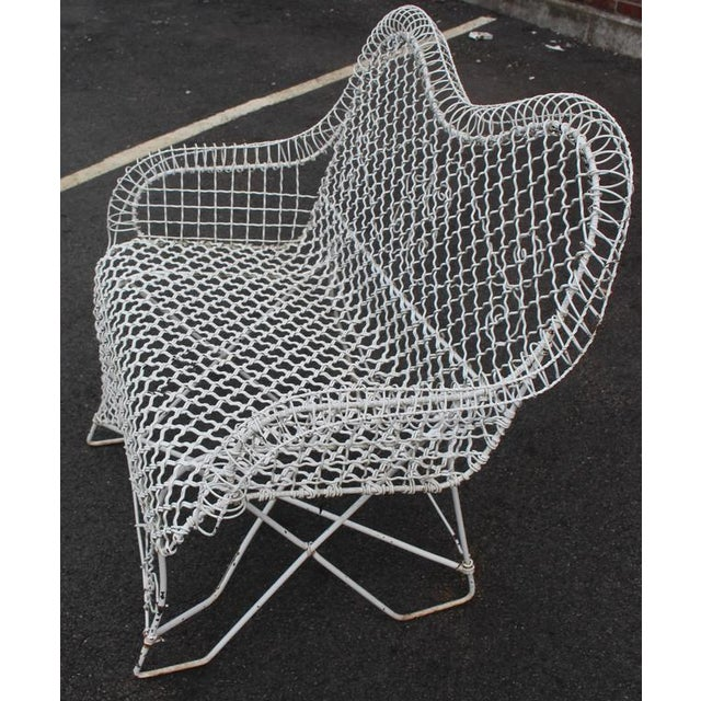 Mid-Century Modern all wire mesh outdoor loveseat sofa park bench chair.