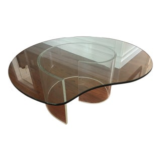 1980s Contemporary Snail Spiral Lucite and Glass Coffee Table For Sale