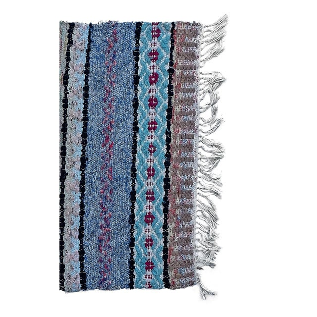 """Mid-Century Modern Handwoven Vintage Swedish Rug by Scandinavian Made 38"""" X 26"""" For Sale - Image 3 of 5"""