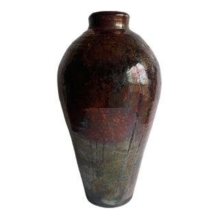 Tall Raku Ceramic Vase For Sale
