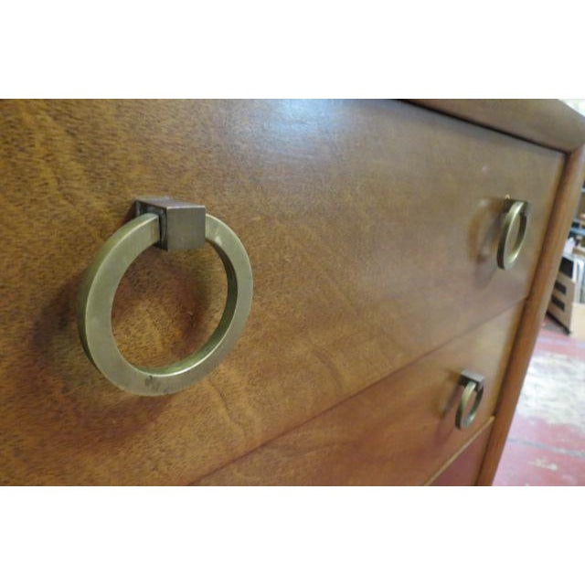 Brass 1960s Vintage Widdicomb Walnut 3 Drawer Chest For Sale - Image 7 of 8