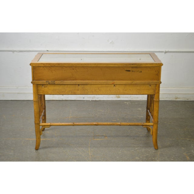 Hollywood Regency American of Martinsville Faux Bamboo & Wicker Writing Desk For Sale - Image 3 of 13