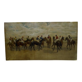 """1891 Original """"Jockeys and Horses"""" Painting on Paper by Gene Smith For Sale"""