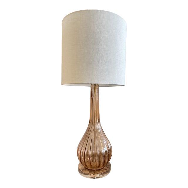 Italian Mid-Century Modern Pink Murano Glass Lamp For Sale