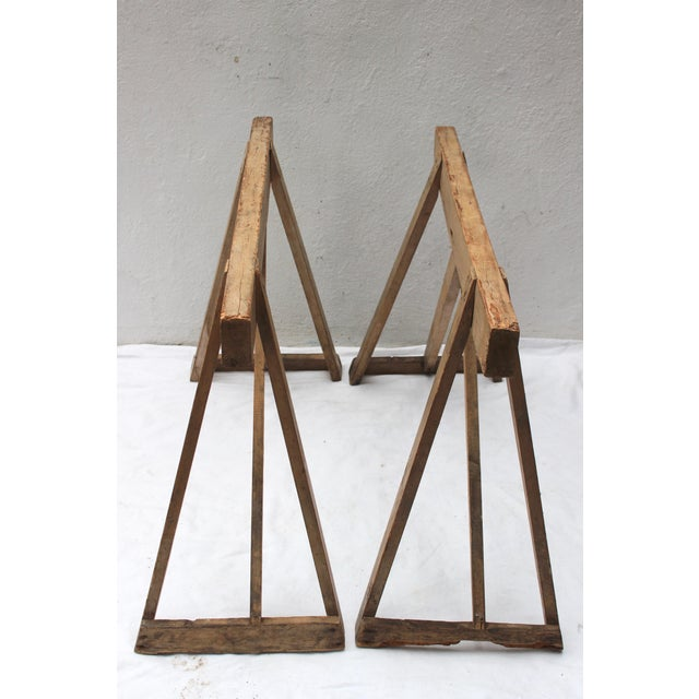 19th Century French Country Wood Saw Horse Table Bases - a Pair For Sale - Image 12 of 13