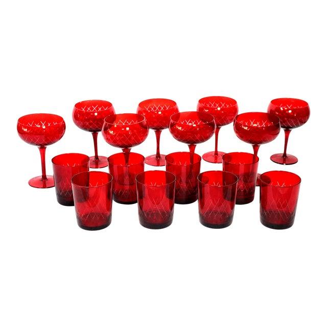 Antique Cut Cranberry Wine Goblets & Lowball Glassware, Set of 16 For Sale