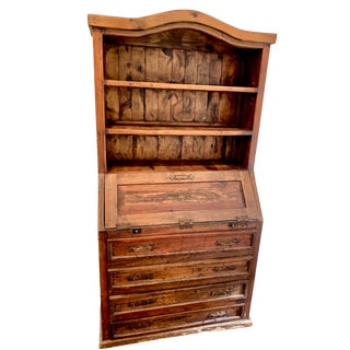 Antique Rustic Pecky Cypress Secretary Desk For Sale