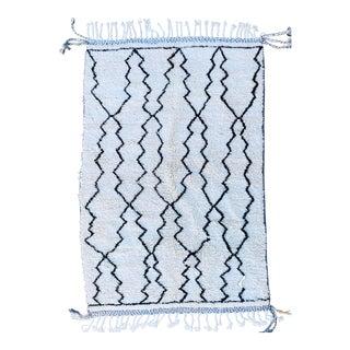 Moroccan Beni Ourain Rug, Handmade 100% Wool For Sale