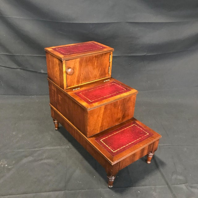 British Mahogany Library Steps With Burgundy Tooled Leather Treads For Sale - Image 12 of 12