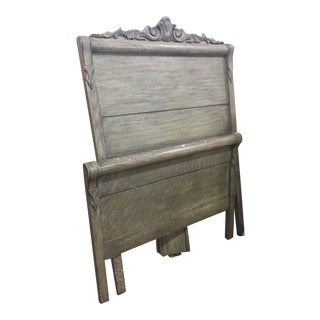 Antiqued Shabby Chic HendersonTwin Headboard and Footboard - 2 Pieces For Sale