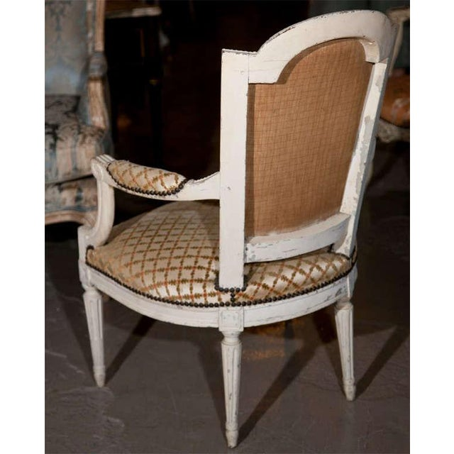 Tan French Louis XIV Style Arm Chairs - Pair For Sale - Image 8 of 8