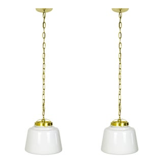 Milk Glass and Brass Schoolhouse Lanterns - a Pair For Sale