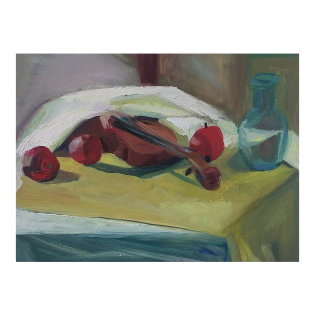 Violin and Fruit Still Oil Painting by Melba Juez-Perrone For Sale