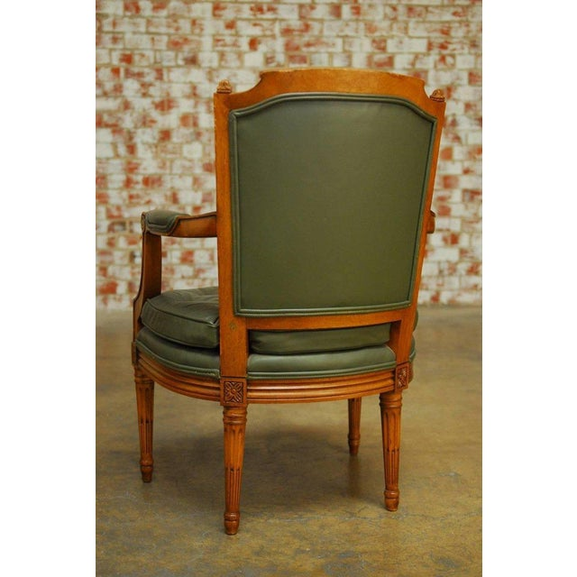 Louis XVI Style Leather Fauteuil Armchairs - A Pair - Image 8 of 10