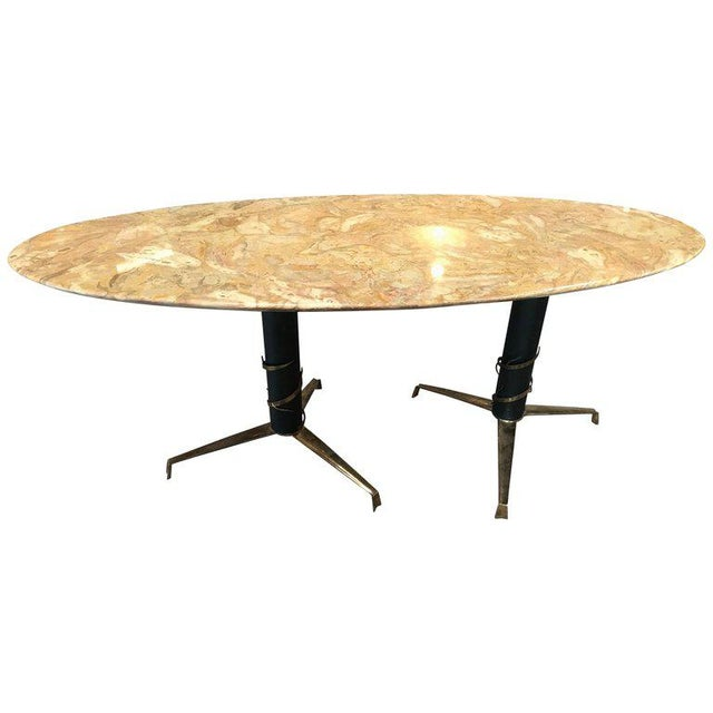 1950s Mid-Century Modern Italian Yellow Marble and Brass Oval Coffee Table For Sale - Image 10 of 10