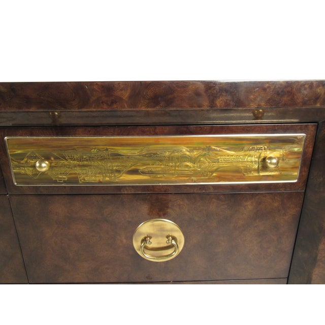 Brass and Burl Wood Dresser for Mastercraft by Bernhard Rohne For Sale - Image 12 of 13