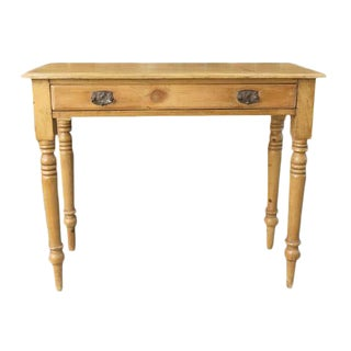 Antique Pine Console Table With Original Hardware For Sale