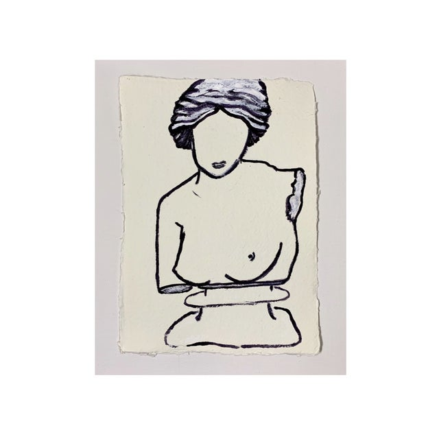 Contemporary Lindsey Weicht Female Bust No. 1 Drawing For Sale - Image 3 of 4