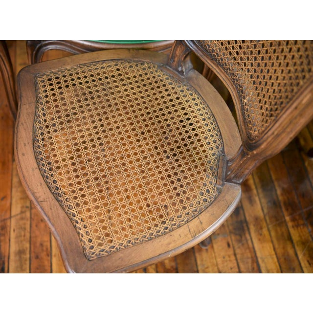 6 French Provincial Caned Dining Chairs-Green Leather Cushions - Image 5 of 8