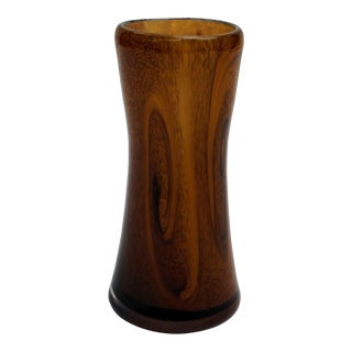 Art Deco Faux Bois Handblown Glass Vase For Sale