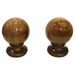 20th Century American Classical Agate and Bronze Finials - a Pair For Sale
