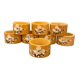Vintage Chinoiserie Bamboo Napkin Rings - a Set of 8 For Sale