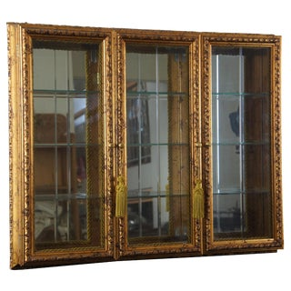Vintage Neiman Marcus Horchow 3 Door Wall Hanging Curio Cabinet Glass Front Gold Italian For Sale