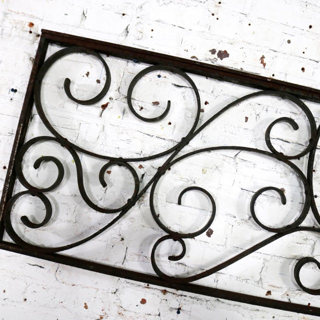 Antique Swirled Design Wrought Iron Railing Piece Trellis or Fence Section For Sale - Image 12 of 13