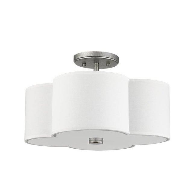 The Quatrefoil 3 Light Semi-Flush Ceiling, Aged Silver For Sale - Image 4 of 4