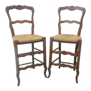 French Country Rush Seat Bar Stools - A Pair For Sale