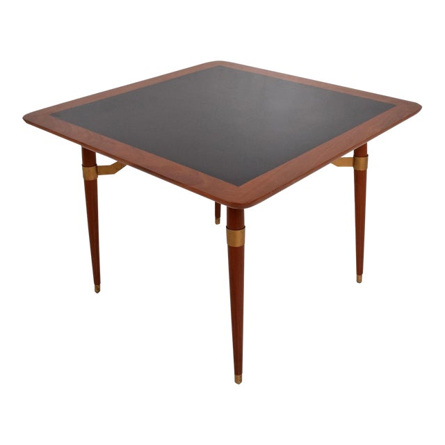 Mexican Modernist Game or Dining Table in Mahogany Wood Attr Eugenio Escudero For Sale