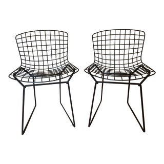 1950s Mid-Century Modern Knoll Bertoia Black Wire Child's Chairs - Set of 2