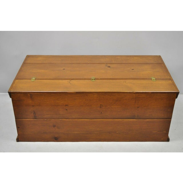 Large Vintage Knotty Pine Wood Blanket Chest Trunk Storage For Sale - Image 10 of 12