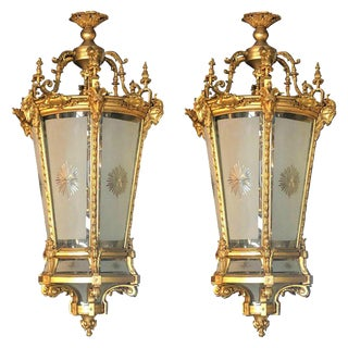Pair of Louis XVI Style Monumental Dore Bronze Rams Head Etched Glass Lanterns For Sale