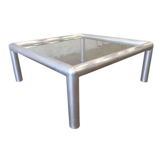 Aluminum and Glass Coffee Table by John Mascheroni For Sale