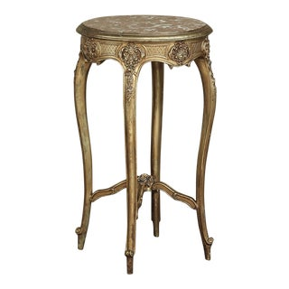 19th Century French Giltwood Marble-Top Lamp Table For Sale