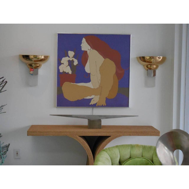 Large Italian Painting of Nude and Orchids, 1970s For Sale - Image 4 of 5