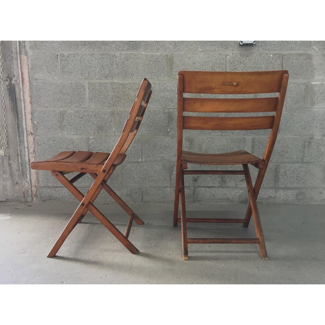 Vintage Rustic Slat Wood Folding Chairs - A Pair - Image 4 of 9
