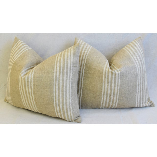"""Tan & White French Cotton & Linen Ticking Feather/Down Pillows 21"""" X 16"""" - Pair For Sale - Image 9 of 12"""